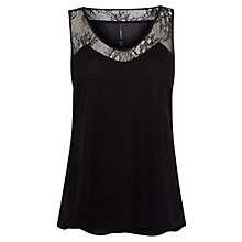 Buy Karen Millen Lace Detail Vest Top, Black Online at johnlewis.com