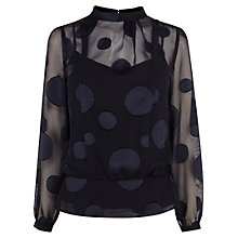 Buy Karen Millen Dot Devore Blouse, Dark Blue Online at johnlewis.com