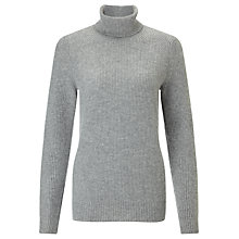 Buy John Lewis Boxy Rib Stitch Cashmere Roll Neck Jumper Online at johnlewis.com
