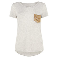 Buy Karen Millen Stud Pocket T-shirt, Pale Grey Online at johnlewis.com