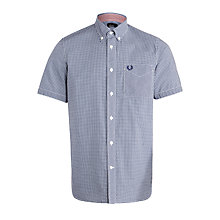 Buy Fred Perry Short Sleeve Poplin Shirt, Medieval Blue Online at johnlewis.com