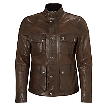Buy Belstaff Burgess Leather Blouson Jacket, Brown Online at johnlewis.com