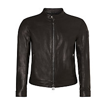 Buy Belstaff Gransden Leather Blouson Jacket, Black Online at johnlewis.com