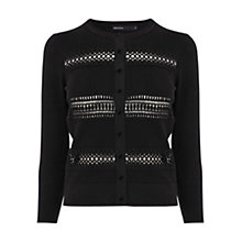 Buy Karen Millen Lace Stripe Knit Cardigan, Black Online at johnlewis.com