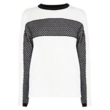 Buy Karen Millen Jacquard Stripe Jumper, Black/White Online at johnlewis.com