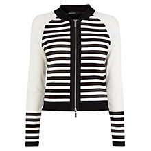 Buy Karen Millen Stripe Knitted Cardigan, Black/White Online at johnlewis.com