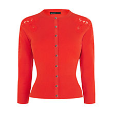 Buy Karen Millen Lace Insert Cardigan, Red Online at johnlewis.com