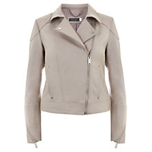 Buy Mint Velvet Leather Biker Jacket, Mineral Online at johnlewis.com