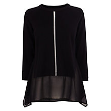 Buy Karen Millen Georgette Hem Jumper, Black Online at johnlewis.com