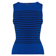 Buy Karen Millen Stripe Rib Knit Top, Blue Online at johnlewis.com