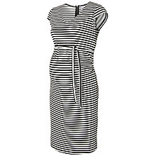 Buy Mamalicious Short Sleeve Striped Maternity Dress, Black/White Online at johnlewis.com