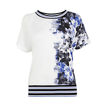 Buy Karen Millen Floral Print T-Shirt, Blue/Multi Online at johnlewis.com