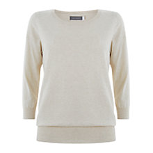 Buy Mint Velvet Cropped Sleeve Cotton Jumper, Vanilla Online at johnlewis.com