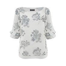Buy Mint Velvet Jolie Print Ruffle Sleeve Top, Grey Online at johnlewis.com