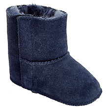 Buy John Lewis Baby Suede Booties, Navy Online at johnlewis.com