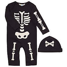 Buy John Lewis Baby's Halloween Skeleton Sleepsuit, Black Online at johnlewis.com