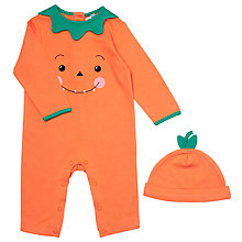 Buy John Lewis Baby's Halloween Pumpkin Sleepsuit, Orange Online at johnlewis.com
