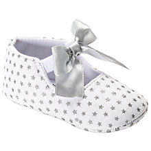 Buy John Lewis Baby Star Ribbon Booties, White/Silver Online at johnlewis.com