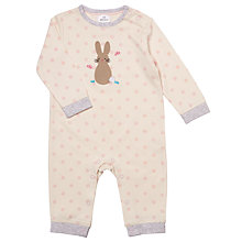 Buy John Lewis Baby's Rabbit Sleepsuit, Cream Online at johnlewis.com