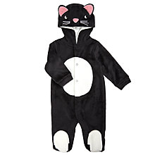 Buy John Lewis Baby Cat Playsuit, Black Online at johnlewis.com