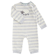 Buy John Lewis Baby's Footless Sheep Sleepsuit, White/Grey Online at johnlewis.com