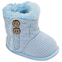 Buy John Lewis Baby Cable Boots, Blue Online at johnlewis.com