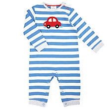 Buy John Lewis Baby Striped Car Sleepsuit, Blue/Cream Online at johnlewis.com