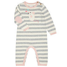 Buy John Lewis Baby's Knitted Mouse Sleepsuit, Pink/Cream Online at johnlewis.com
