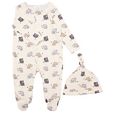 Buy John Lewis Baby Elephant Print Sleepsuit with Hat, Cream Online at johnlewis.com