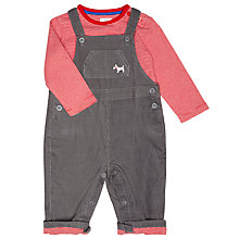 Buy John Lewis Baby's Dungaree Set, Grey/Red Online at johnlewis.com