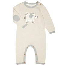 Buy John Lewis Baby's Elephant Knit Playsuit, Cream Online at johnlewis.com
