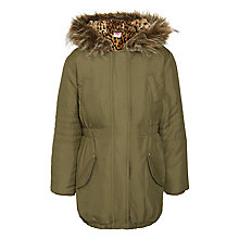 Buy John Lewis Girl Leopard Parka Jacket, Khaki Online at johnlewis.com