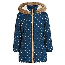 Buy John Lewis Girl Spot Print Long Line Coat, Navy Online at johnlewis.com