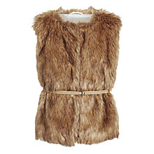 Buy John Lewis Girl Faux Fur Gilet, Brown Online at johnlewis.com
