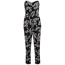 Buy Miss Selfridge Bandeau Daisy Print Jumpsuit, Black Online at johnlewis.com
