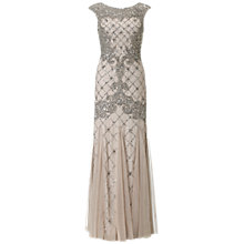 Buy Adrianna Papell Sleeveless Beaded Gown, Silver Online at johnlewis.com