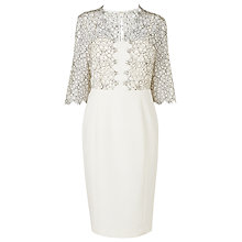 Buy L.K. Bennett Hattie Lace Trim Dress, Cream Online at johnlewis.com