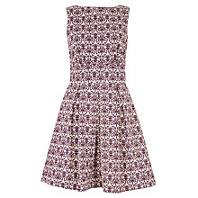 Buy Closet Damask Print Pleat Skater Dress, Beige Online at johnlewis.com