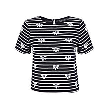 Buy Miss Selfridge Embellished Stripe T-Shirt, Navy Online at johnlewis.com