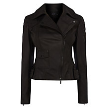 Buy Karen Millen Matt Leather Biker Jacket, Black Online at johnlewis.com