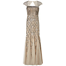 Buy Adrianna Papell Cap Sleeve Beaded Dress, Nude Online at johnlewis.com