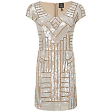 Buy Adrianna Papell Short Beaded Dress, Champagne Online at johnlewis.com