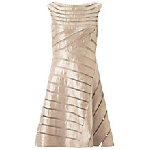 Buy Adrianna Papell Diagonal Netting Shimmer Inset Dress, Champagne Online at johnlewis.com