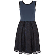 Buy Closet Lace Contrast V Back Dress, Black Online at johnlewis.com
