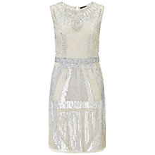 Buy Aidan Mattox Sleeveless Beaded Cocktail Dress, Silver Online at johnlewis.com