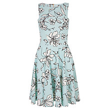 Buy Closet Floral Cut Out Skater Dress, Aqua Online at johnlewis.com