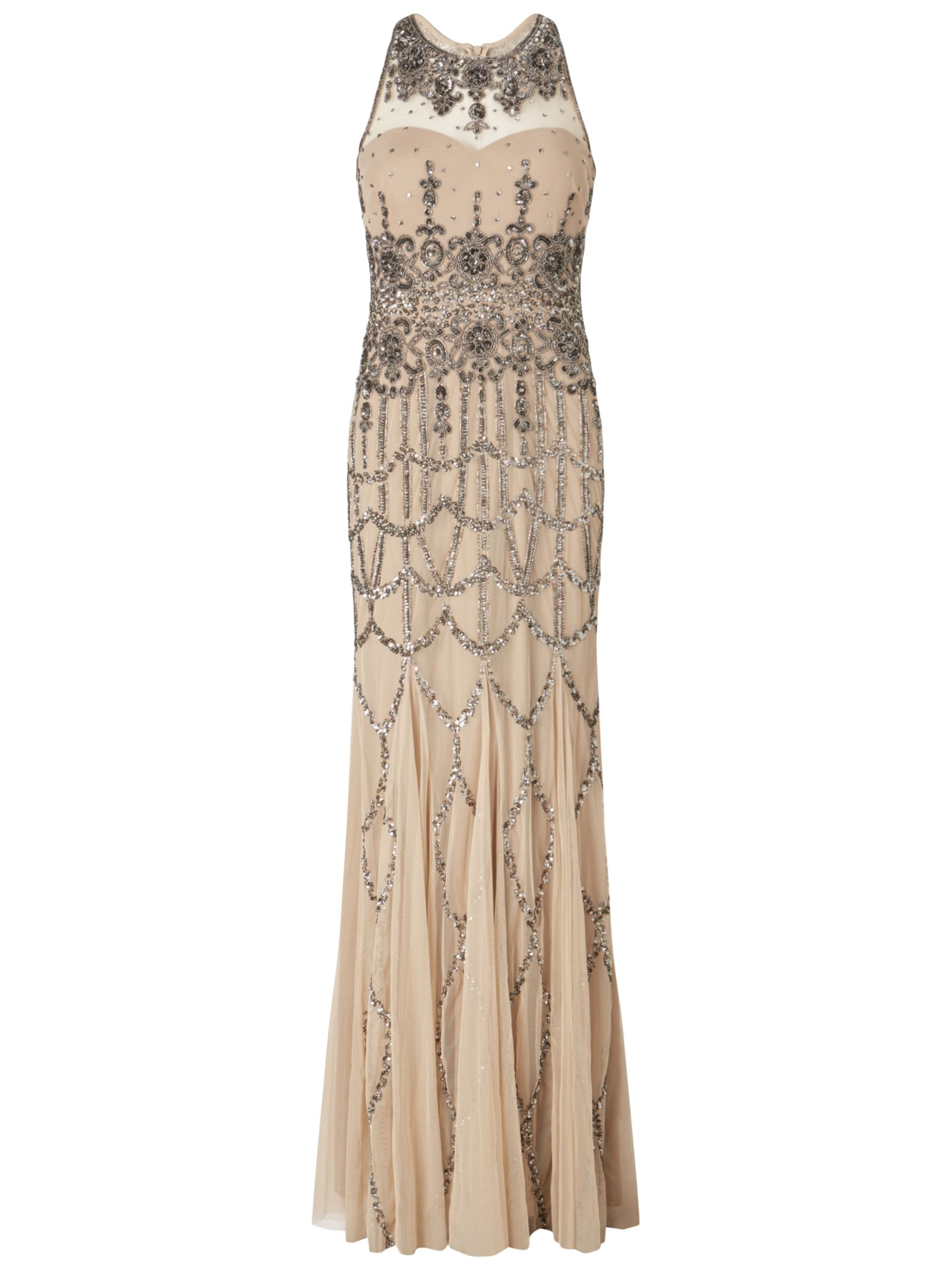 adrianna papell sleeveless beaded gown nude, adrianna, papell, sleeveless, beaded, gown, nude, adrianna papell, 16|8|10|14|12|18, women, eveningwear, gifts, wedding, wedding clothing, wedding dresses, plus size, brands a-k, womens dresses, 1921134