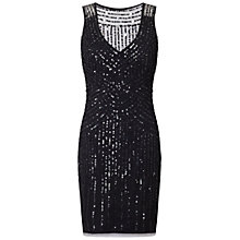 Buy Aidan Mattox Beaded V-Neck Cocktail Dress, Black Online at johnlewis.com
