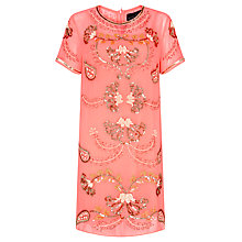 Buy Needle & Thread Filagree Shift Dress, Fluro Coral Online at johnlewis.com