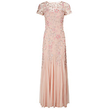 Buy Adrianna Papell Floral Beaded Godet Gown, Blush Online at johnlewis.com